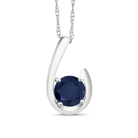 1.00 Ct Round Blue Sapphire 10K White Gold Pendant With Chain