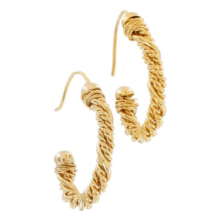 Large Gold Tone Twisted Rope Chain Style Hoop Loop Pierced Earrings Gold Tone Twisted Earrings
