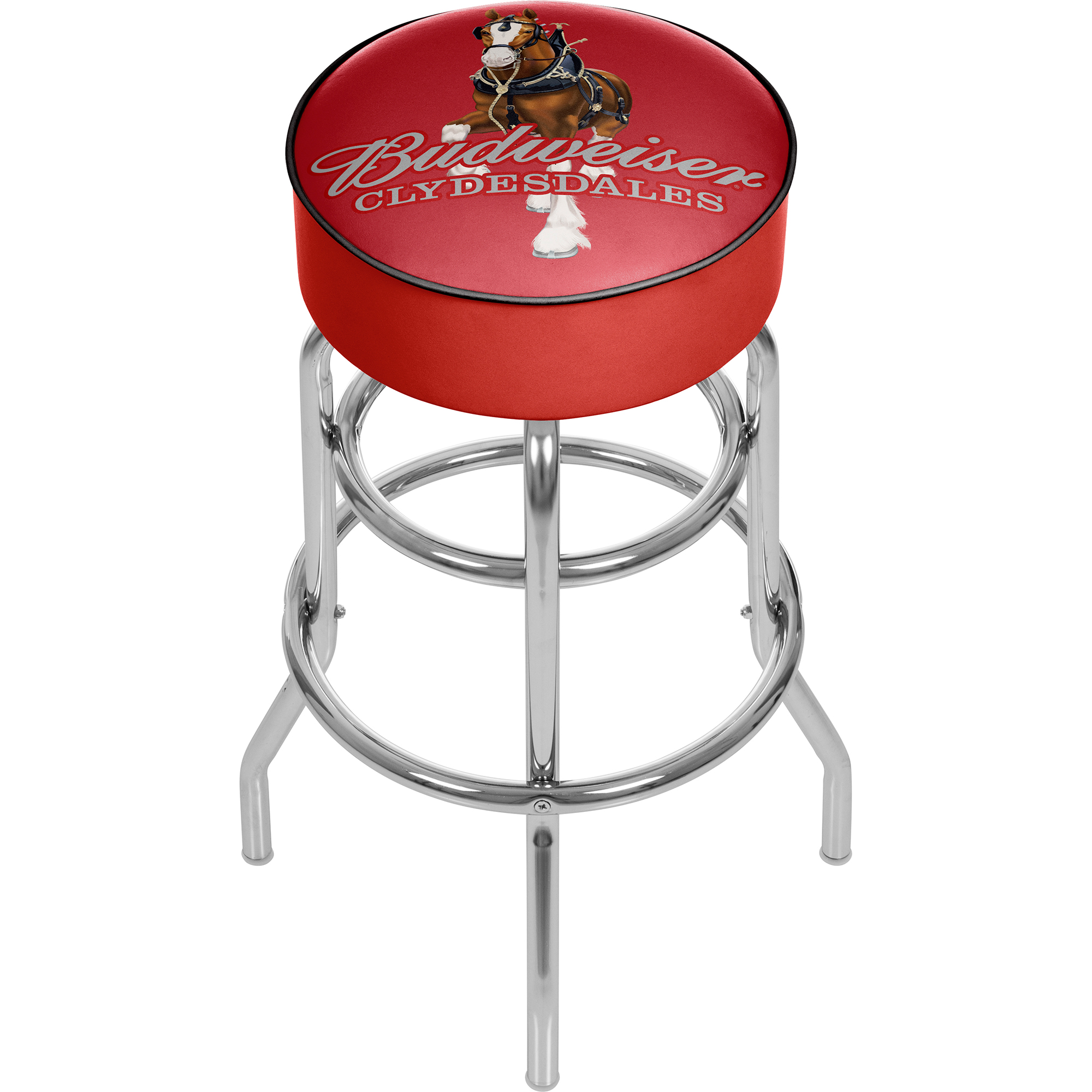 Budweiser Padded Swivel Bar Stool - Clydesdale Red