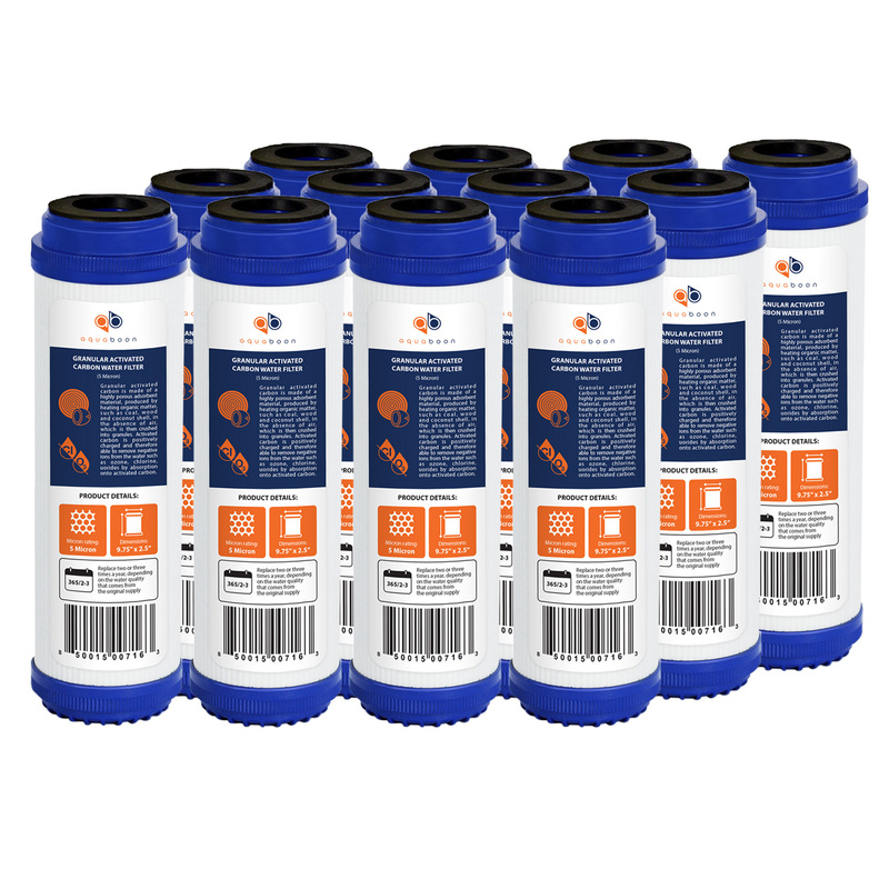 "12 Pack of Granular Activated Carbon 10"" x 2.5"" 5 Micron Water Filter Cartridges by Aquaboon"