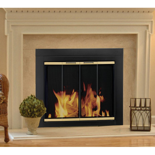 Pleasant Hearth Arrington Fireplace Screen and Bi-Fold Track-Free Glass Doors - Black and Gold