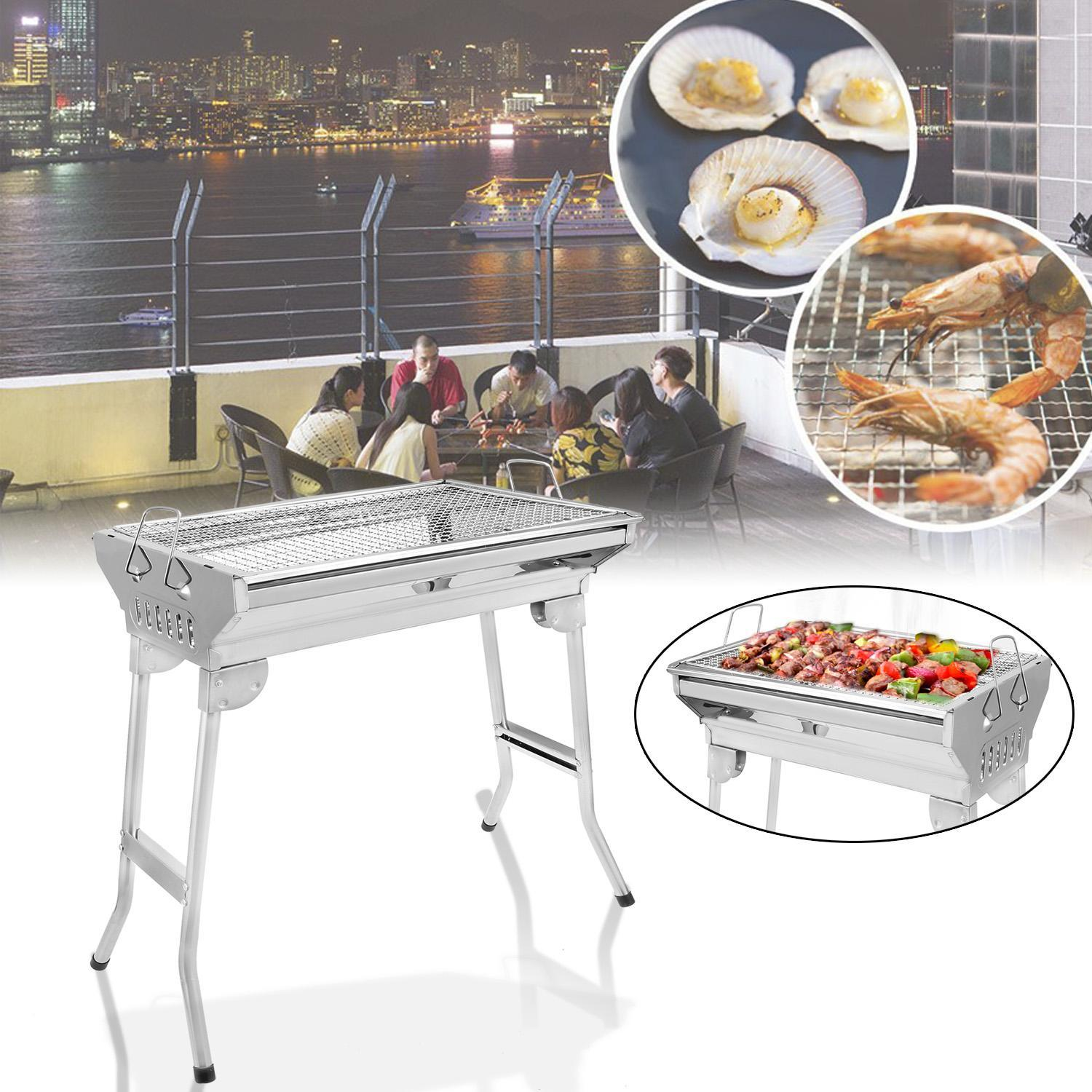 Folding Stainless Steel Charcoal Grill Cookouts BBQ Portable for Camping Hiking