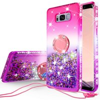 SOGA Rhinestone Glitter Bling Liquid Floating Cute Phone Case Compatible for Samsung Galaxy S8 Plus Case with Embedded Metal Ring for Magnetic Car Mounts and Lanyard Diamond Bumper - Pink on Purple