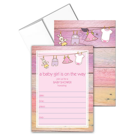 Baby Girl Invitation with Envelopes - 25 Baby Shower Invites - B15207](Cheap Baby Shower Invitations For Girls)