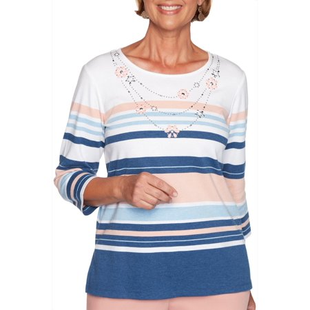 Alfred Dunner Womens Pearls of Wisdom Striped Top