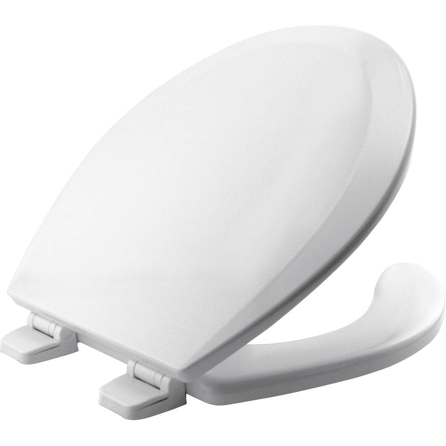Round Open Front Molded Wood Toilet Seat with Top-Tite Hinge