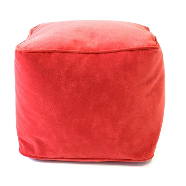 Gold Medal 1BF11858107 Micro-Fiber Suede Bean Bag Ottoman, Flame Red - Medium