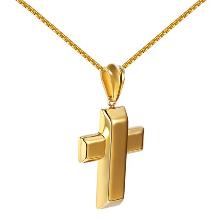 Bar Design Cross Pendant 18k Gold Tone Stainless Steel Charm Necklace Set Jesus