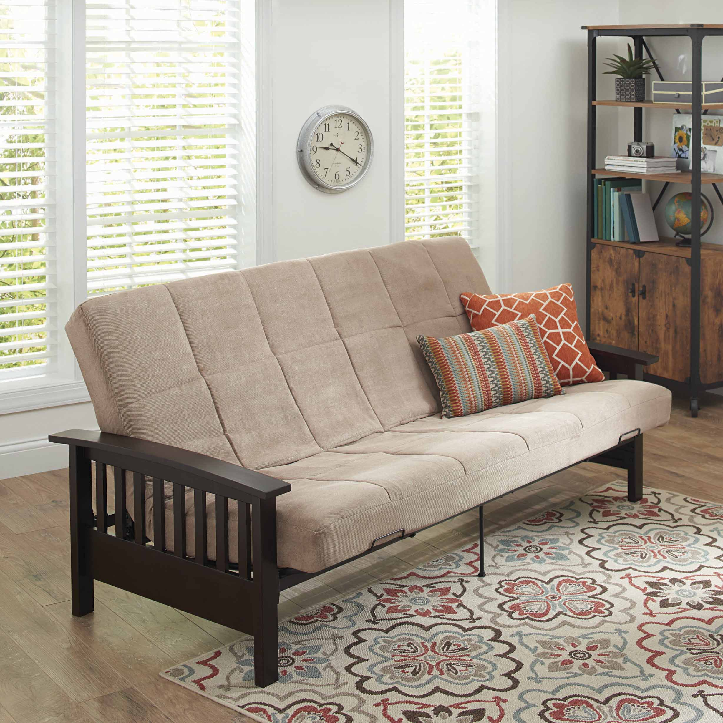 Better Homes and Gardens Mission Wood Arm Futon, Multiple Colors