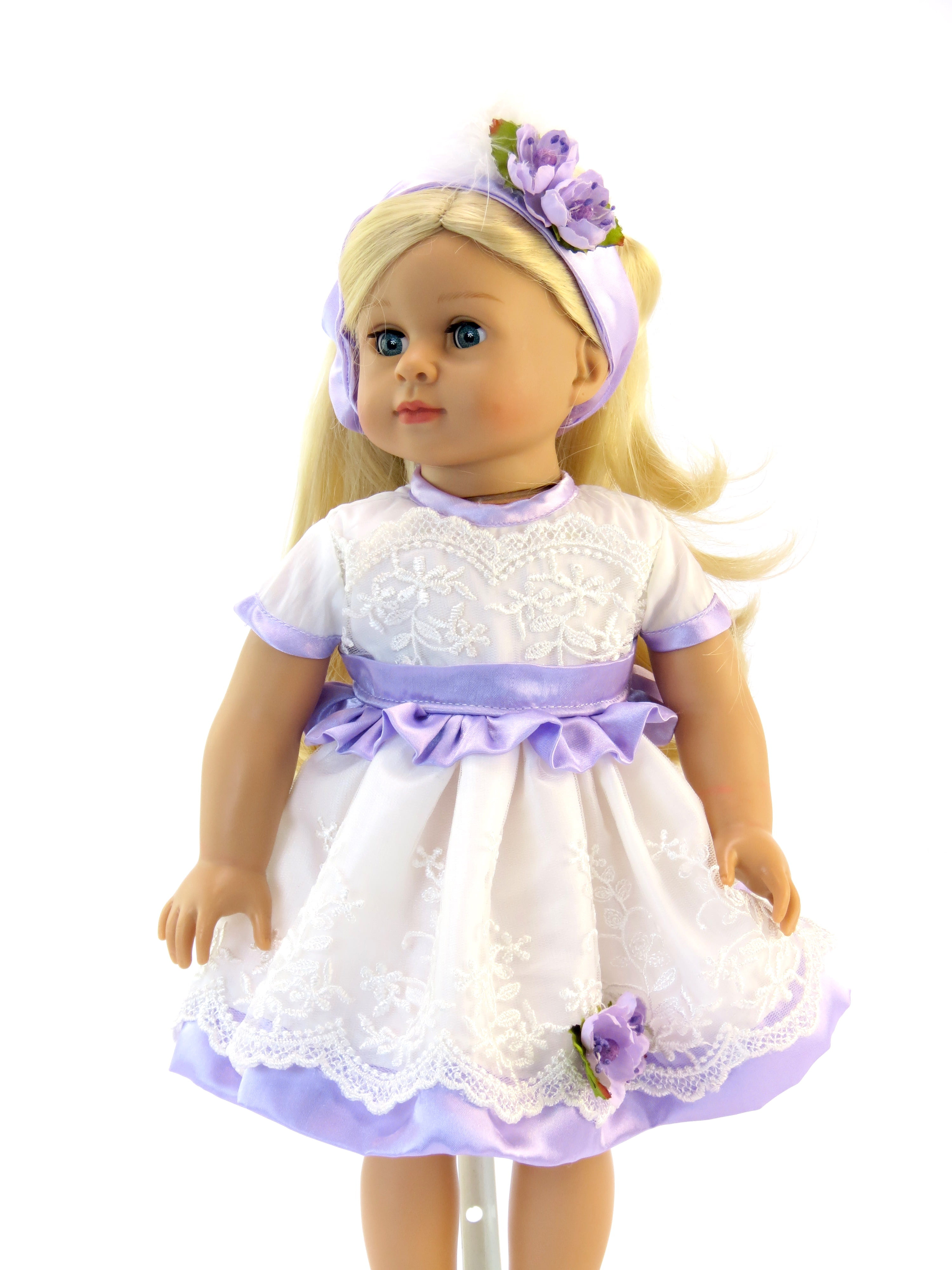 "Purple and White Lace Dress with Headband -Fits 18"" American Girl Dolls, Madame... by"