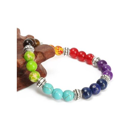 8mm Crystal Beads Chakra Bracelet Healing Energy 7 Stone Gemstone Bracelet Jewelry (Beaded Bracelet Fashion Jewelry)