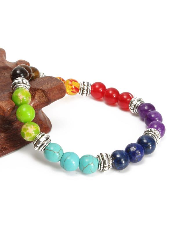 8mm Crystal Beads Chakra Bracelet Healing Energy 7 Stone Gemstone Bracelet Jewelry Gift