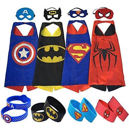 Superhero Costumes (4 Satin Capes, 4 Felt Masks, 4 Superhero Bracelets) For Kids