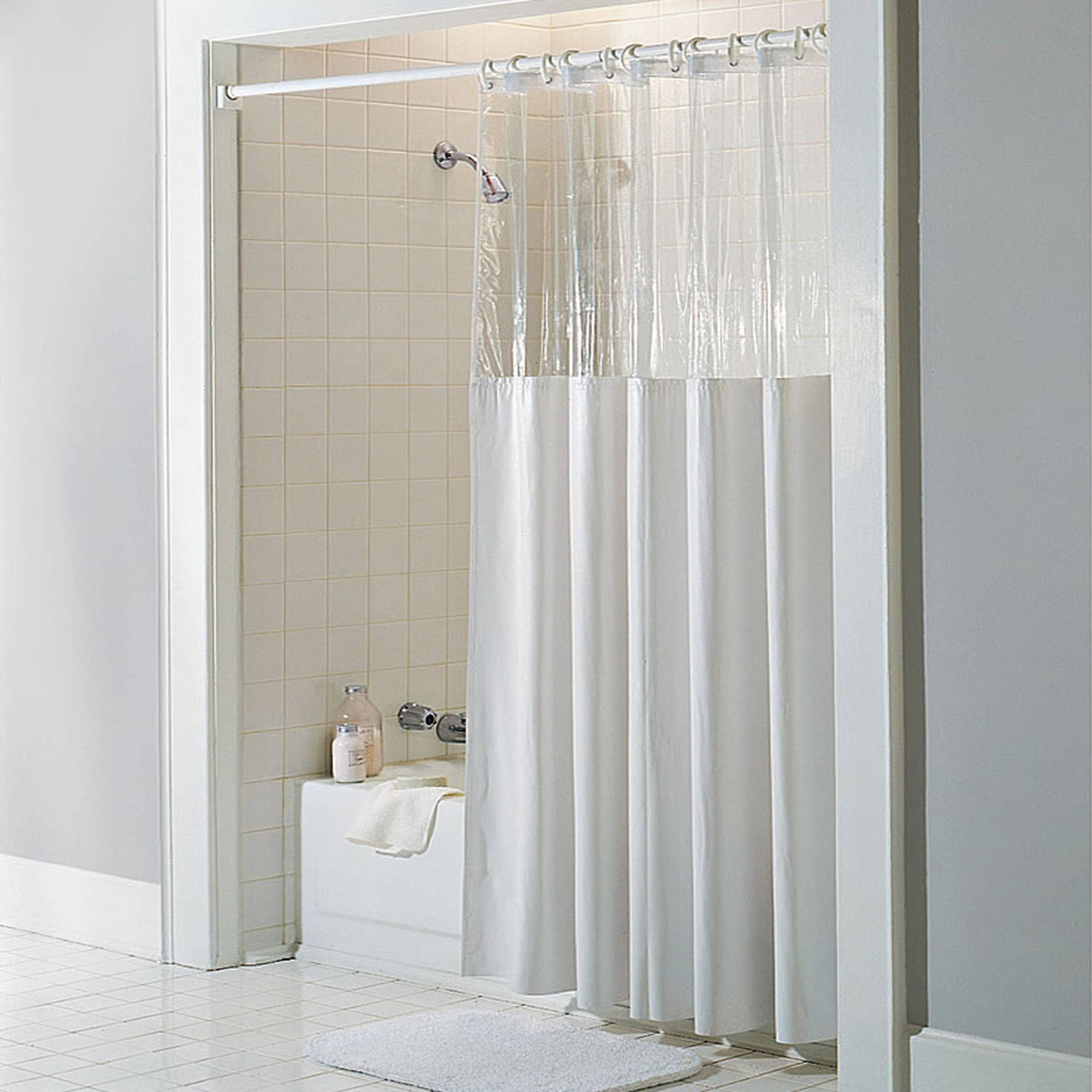 See Through Top Clear/White Vinyl Bath Shower Curtain, 72\