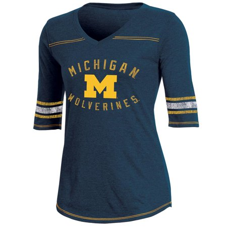 Women's Russell Navy Michigan Wolverines Fan Half-Sleeve V-Neck T-Shirt