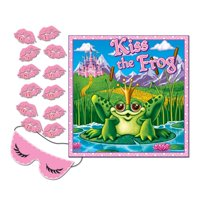 Club Pack of 24 Princess Themed Pin the Kiss on the Frog Party Game