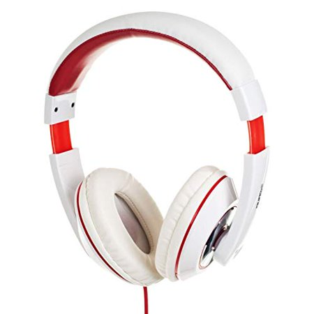 Professional DJ Stereo Headphones Over The Ear Headset w/Dynamic Superior Bass, Handsfree Mic, 3.5mm Aux Cord, Padded Ear Cups, Sound (White DHM)