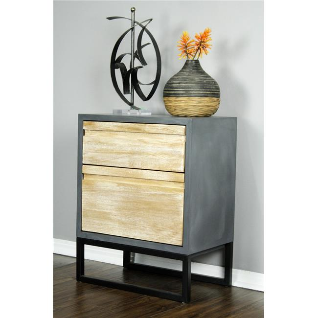 Nova 2 Drawer Accent Cabinet   Gray With Distressed Wood