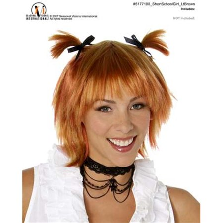 Short School Girl Wig Lt Brown