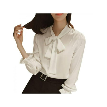 VICOODA Womens Bow Tie Neck Lantern Sleeve Casual Office Work Chiffon Blouse Shirts Tops (Printed Lantern Sleeve Shirt)