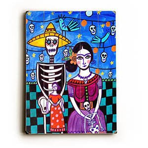 "Skeleton Fiesta Couple by Artist Heather Diamond 14""x20"" Planked Wood Sign Wall Decor Art"