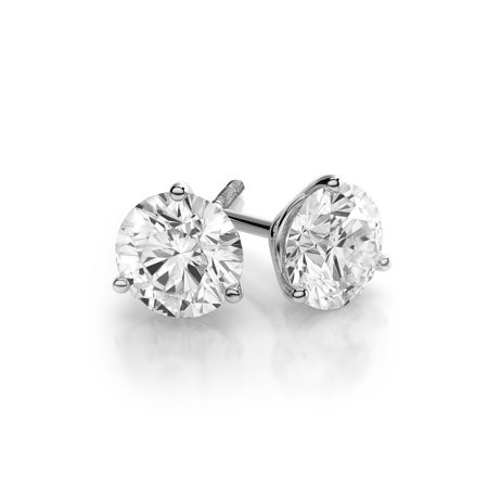 18k Brilliant Cut Stud - 1 dwt Round Cut C&C Forever One Moissanite Ladies Stud Earrings 18k White Gold