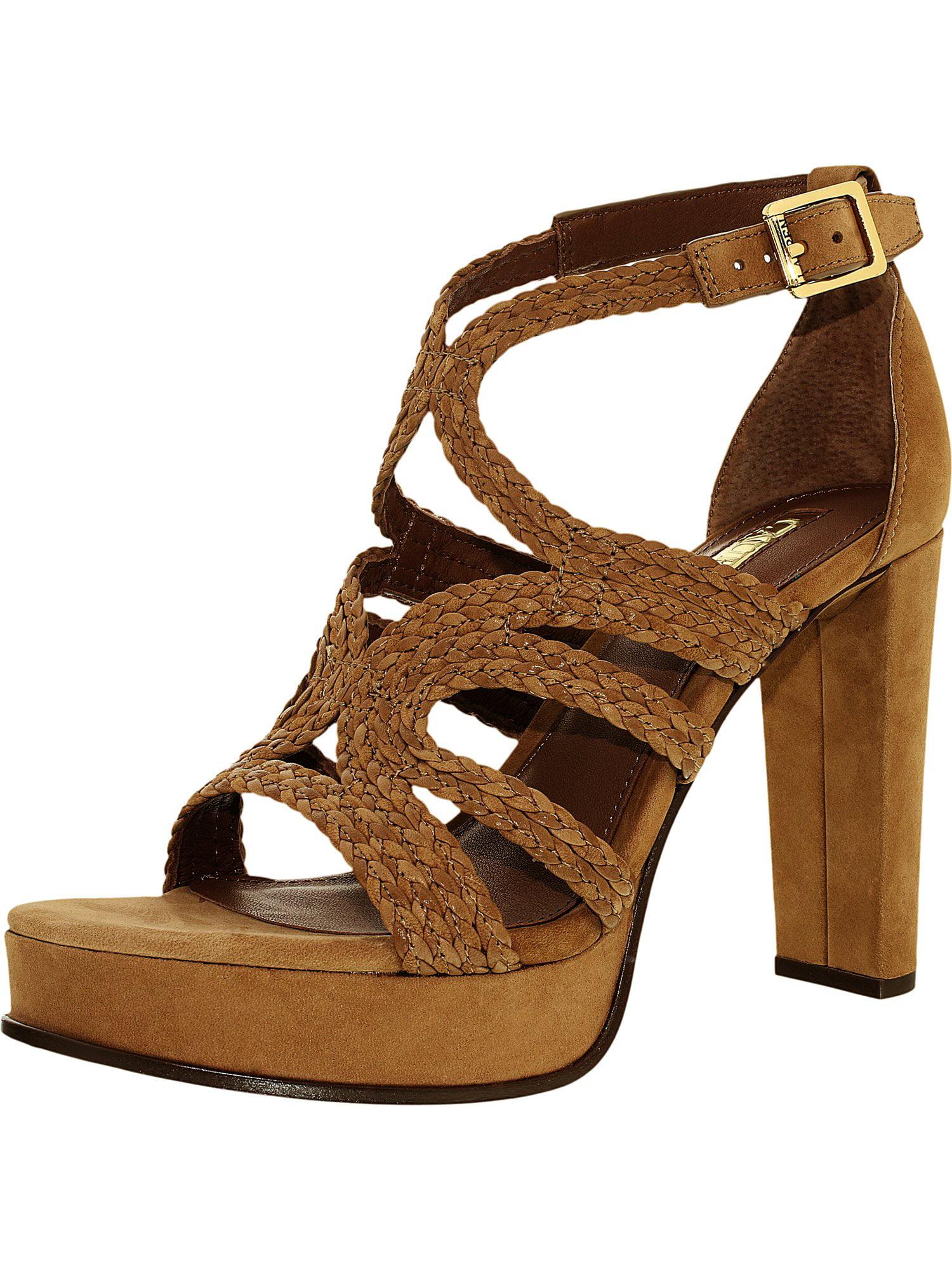 Lauren Ralph Women's Aleena-Sn-Drs Leather Polo Tan Ankle-High Pump - 9M