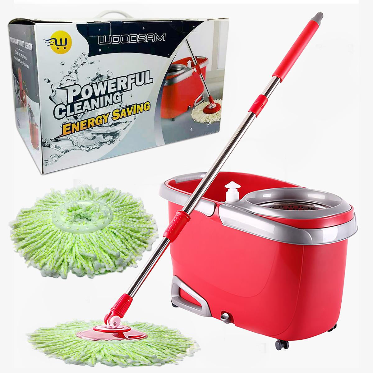 Woodsam Magic Spin Mop Easy Press Mop Bucket Set