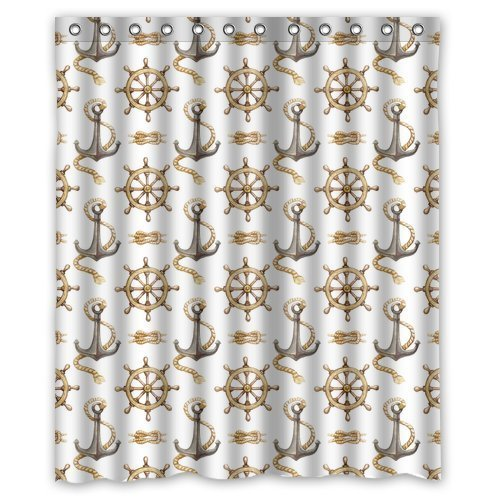 HelloDecor Nautical Anchor Shower Curtain Polyester Fabric Bathroom Decorative Curtain Size 60x72 Inches
