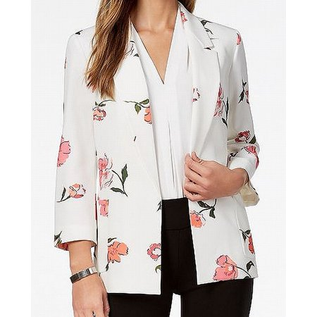 Nine West Womens Floral Open-Front Blazer Jacket