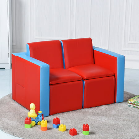 GHP Red Blue Wooden Frame Multi-Functional Table Chairs Set Couch Storage Kids Sofa ()