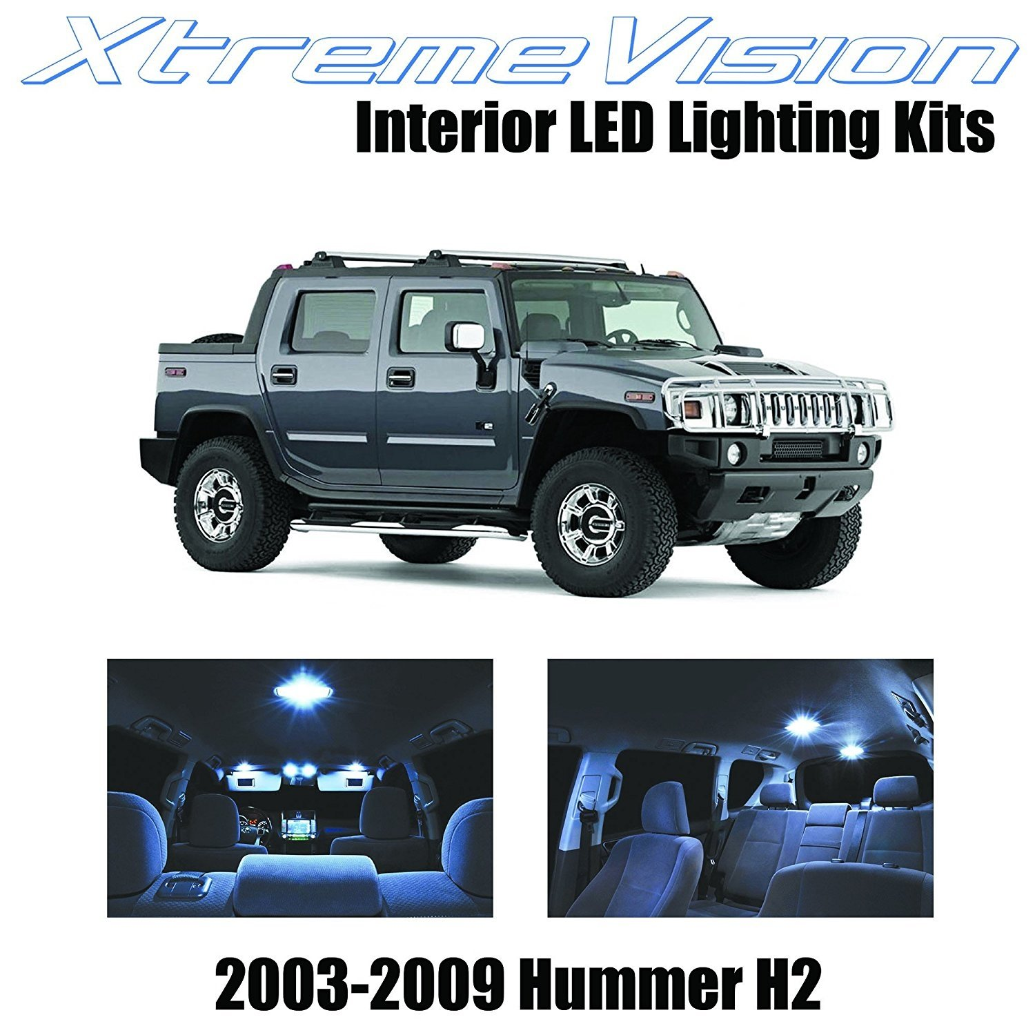 XtremeVision LED for Hummer H2 2003-2009 (15 Pieces) Cool White Premium Interior LED Kit Package +Installation Tool