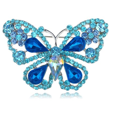 Deep Aqua Blue Sapphire Crystal Rhinestone Fairytale Butterfly Insect Brooch
