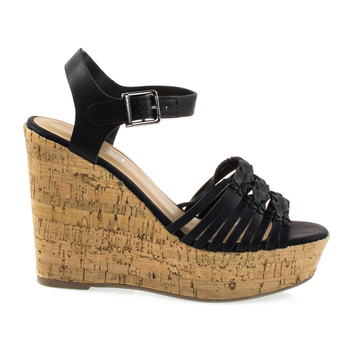 Music by Soda, Cork Platform Wedge Fisherman Woven Dress Sandal, Women Open Toe Shoes