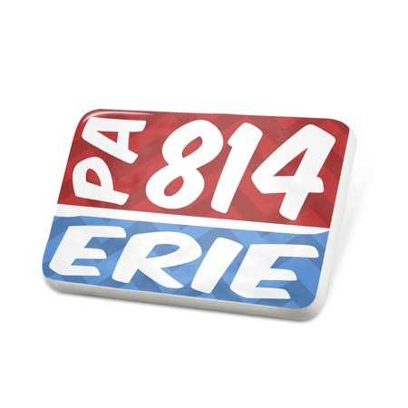 Porcelein Pin 814 Erie, PA red/blue Lapel Badge – NEONBLOND