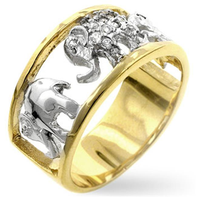 Kate Bissett R07888T-C01-09 Two Tone 14k Gold and Genuine Rhodium Plated with Elephant Designs and Pave Round Cut Clear