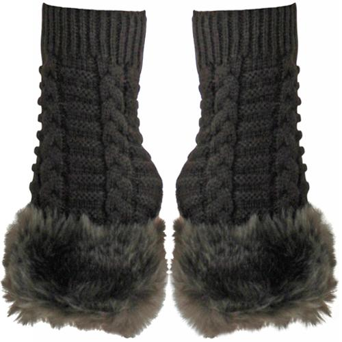Luxury Divas Brown Faux Fur Trim Fingerless Arm Warmer Long Knit Gloves