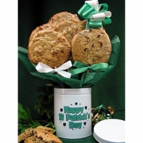 St Patrick's Day Stemmed Tin 6 Gourmet Cookies by