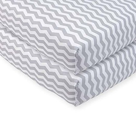 Babies R Us Grey Chevron Printed Sateen Crib Sheet - 2 (3 In 1 Crib Babies R Us)