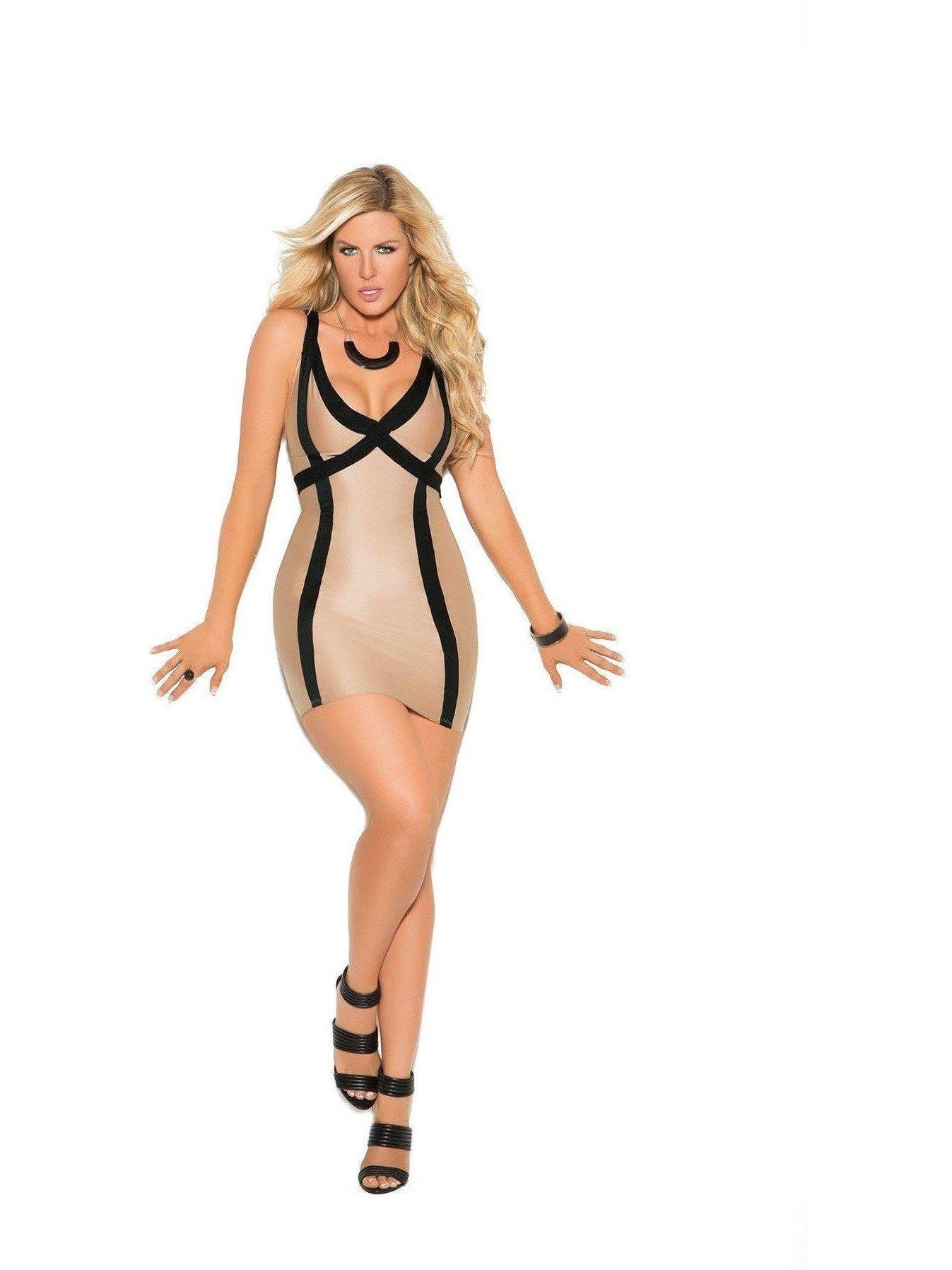 224ac4cfd141d Elegant Moments - Elegant Moments EM-8401X Lycra mini dress 1X / Nude -  Walmart.com