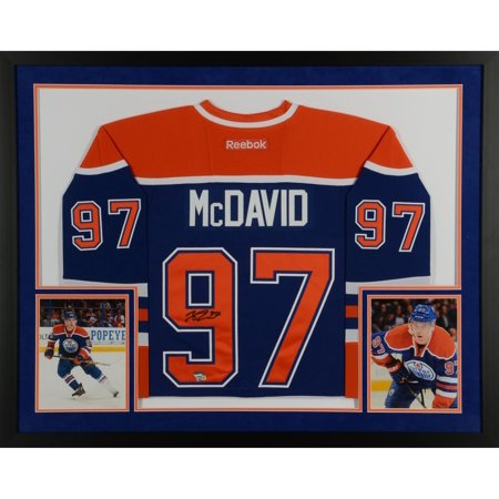 (Connor McDavid Edmonton Oilers SM Deluxe Framed Autographed Blue Reebok EDGE Jersey - Upper Deck - Fanatics Authentic Certified)