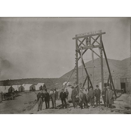 Rochester Gold Mining Company Goldfield Nevada Ca 1904 Very Early Image Of Dignitaries And A Gallows Frame Of One Of Goldfields Earliest Ventures Buildings Near Mining Works Are Still In (Autofocus Still Image)