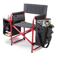 Picnic Time Fusion Directors Chair - Dark Gray with Red