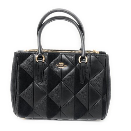 Coach Mini Surrey Patchwork Leather Satchel in Leather/Suede Black