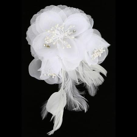 Girls White Feather Flower Bead Rhinestone Communion Flower Girl Headpiece](Flower Headpiece)