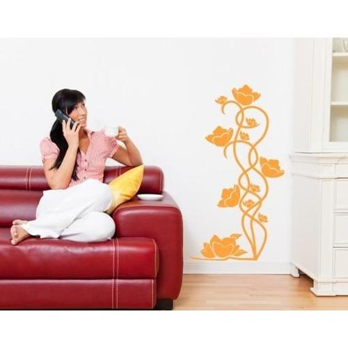 Floral Element Wall Decal Vinyl Art Home Decor Pastel orange 28in x 51in