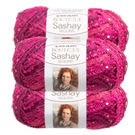 Red Heart (3 Pack) Red Heart Boutique Sashay Sequins Acrylic & Polyester Soft Yarn for Knitting Crocheting Super Bulky -