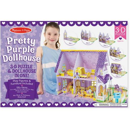Melissa & Doug Pretty Purple Dollhouse 3-D Puzzle (16 x 10.75 x 10.75 inches, 100+ pcs) - image 2 de 5