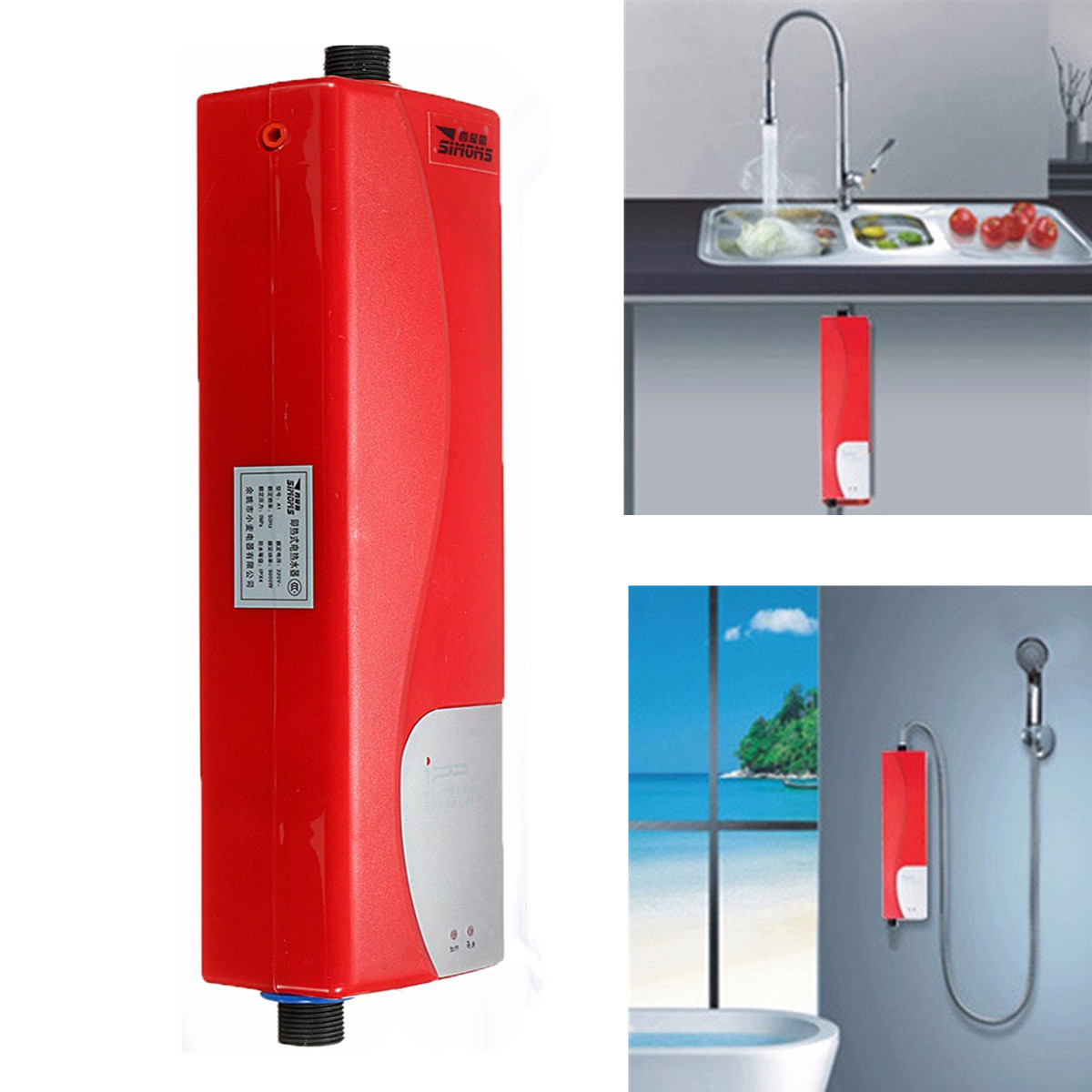 220V 3000W Portable Mini Tankless Electric Shower Instant Kitchen Bathroom  Water Heater