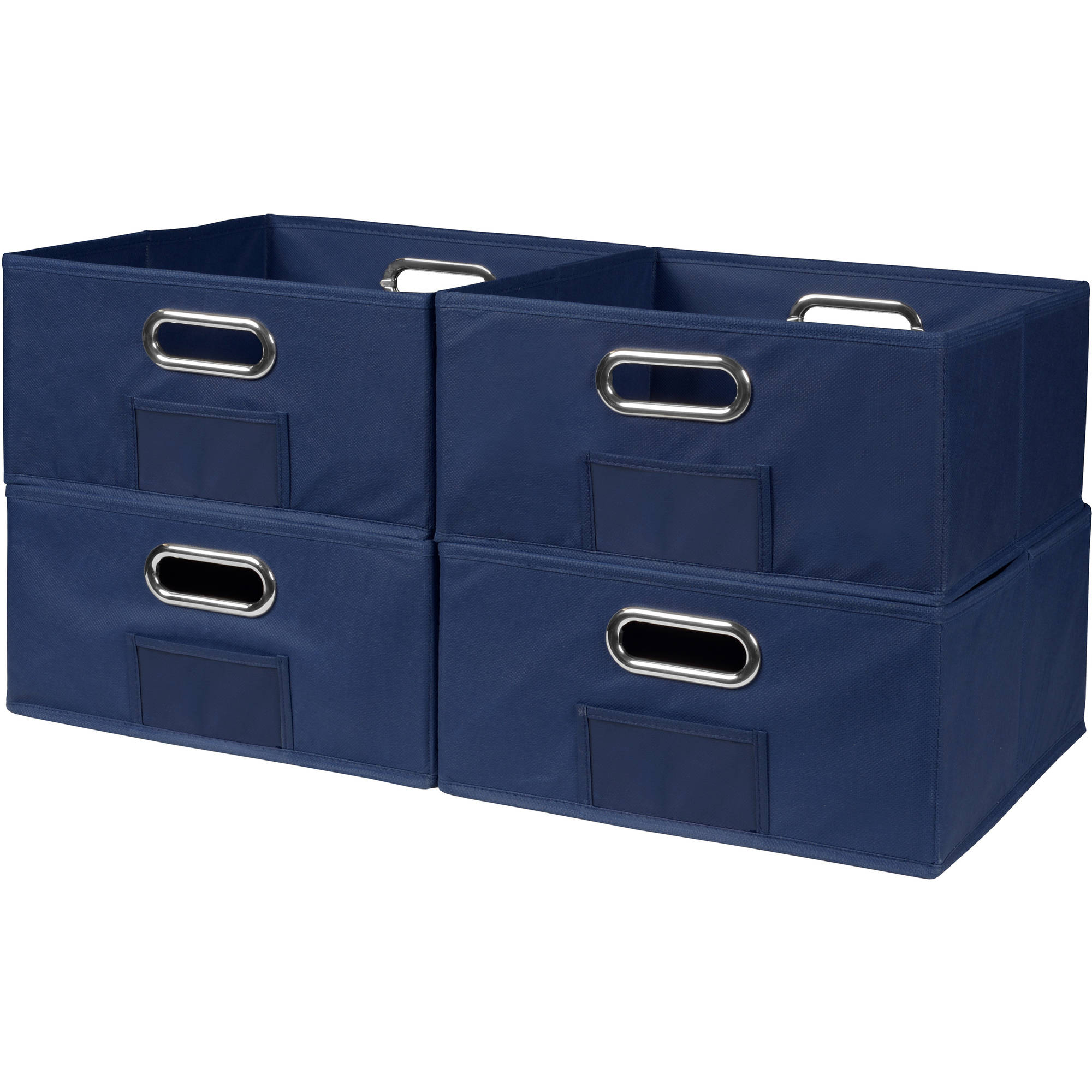 Niche Cubo Set of 4 Half-Size Foldable Fabric Storage Bins- Blue